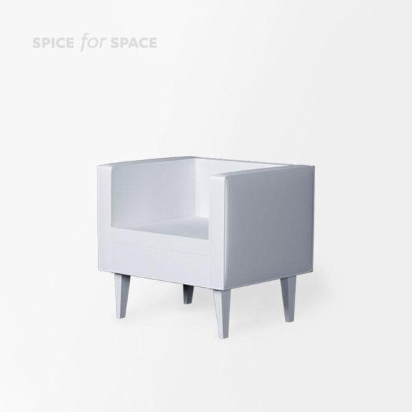 biały fotel Simply U z ekoskóry na wynajem
