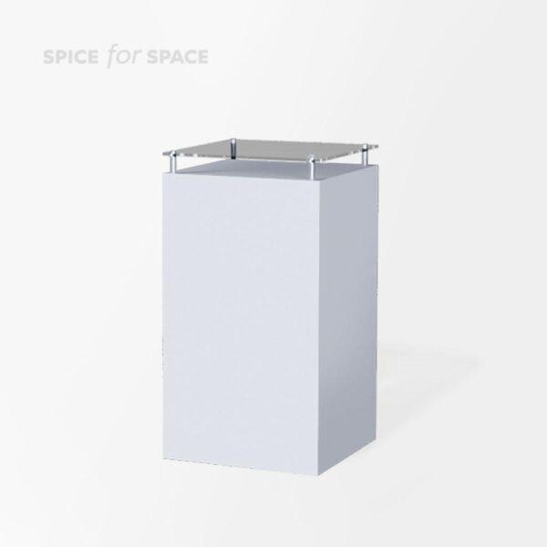 biały postument Simply mini z szklanym blatem na wynajem