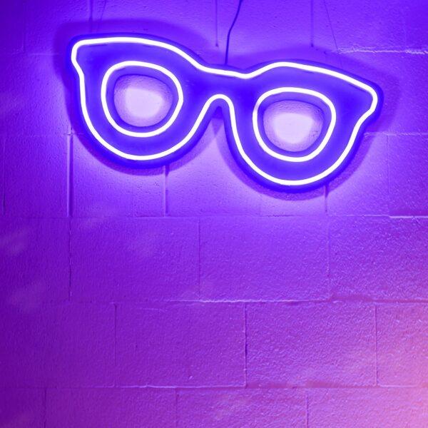 neon w kształcie okularów